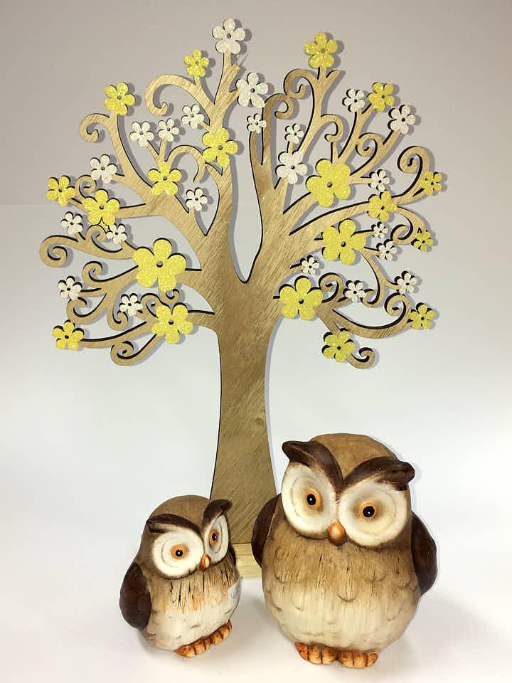 Produktbilder Holzschnitt Baum, zwei Eulen