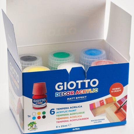 Produktbild Giotto Dekor Hobby&Craft Matt Acrylic Paint, 6 x 25 ml Wasserfarben im Karton